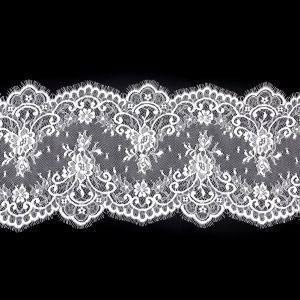 White Fine Floral Lace with Scalloped Eyelash Edges - 9.5