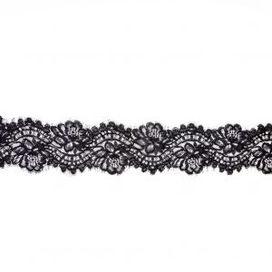 Black Floral Corded Lace with Scalloped Eyelash Edges - 4.5