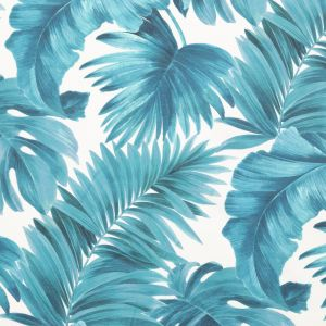 Blue Tropical Leaves Printed Woven