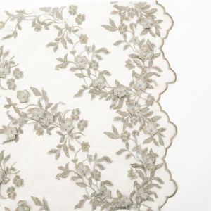 Fancy Green 3D Floral Beaded and Embroidered Lace with Scalloped Edges