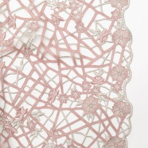 Fancy Pink Floral Web Guipure Lace with Finished Edges