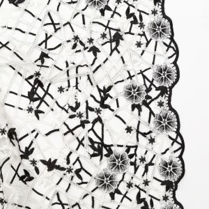 Fancy Black and White Floral Web Guipure Lace with Finished Edges