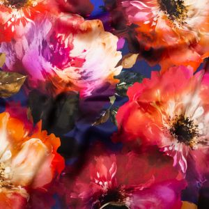 Italian Pink, Orange and Blue Painterly Floral Digitally Printed Silk Charmeuse
