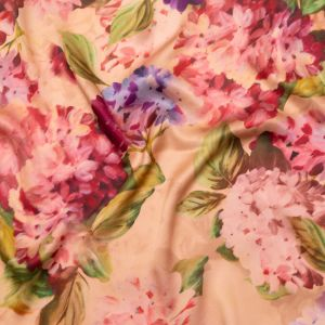 Italian Dusty Rose and Pompeian Red Painterly Floral Digitally Printed Silk Charmeuse