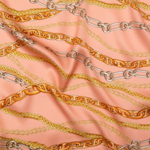 Italian Pink and Gold Chains Digitally Printed Silk Charmeuse