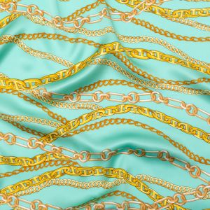 Italian Teal and Gold Chains Digitally Printed Silk Charmeuse