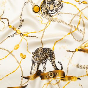 Italian Off-White and Gold Cheetahs and Gems Silk Charmeuse