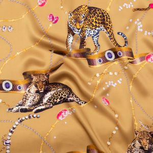 Italian Beige, Pink and Gold Cheetahs and Gems Silk Charmeuse