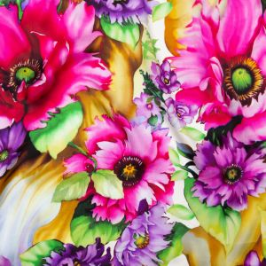 Italian Iris Orchid, Mulberry and Mustard Whimsical Floral Digitally Printed Silk Charmeuse