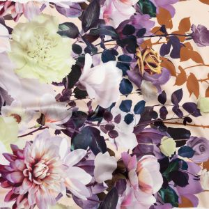 Italian Brown, Evening Rose and Mint Floral Border Digitally Printed Silk Charmeuse