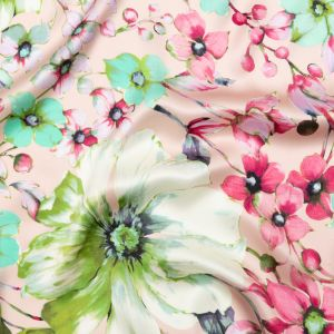 Italian Pink Silk Charmeuse with Central Digitally Printed Florals
