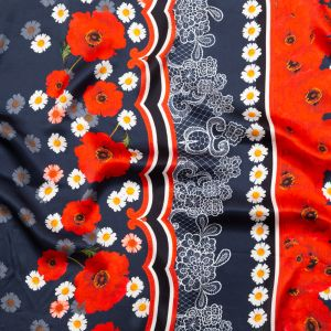 Italian Navy, Red and Gray Floral Border Digitally Printed Silk Charmeuse