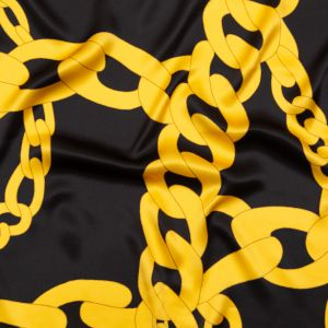 Italian Black and Gold Large Chains Digitally Printed Silk Charmeuse