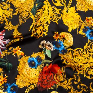 Italian Black and Gold Ornate Floral Digitally Printed Silk Charmeuse