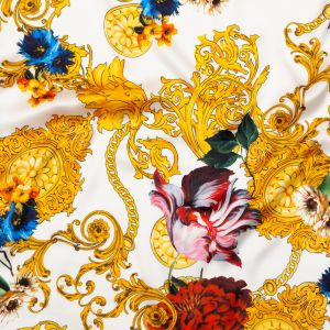 Italian White and Gold Ornate Floral Digitally Printed Silk Charmeuse