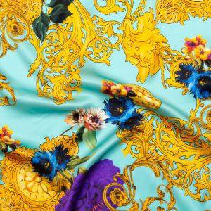 Italian Turquoise and Gold Ornate Floral Digitally Printed Silk Charmeuse