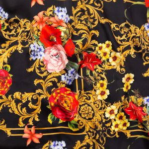 Italian Black, Faded Rose and Harvest Gold Ornate Floral Digitally Printed Silk Charmeuse