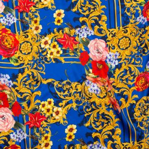 Italian Blue, Red and Gold Ornate Floral Digitally Printed Silk Charmeuse