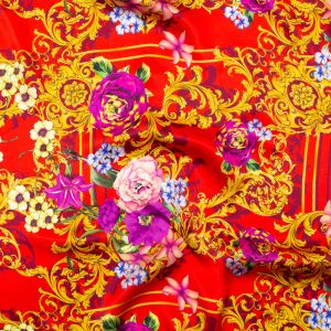 Italian Red, Gold and Purple Ornate Floral Digitally Printed Silk Charmeuse
