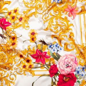 Italian White, Blush and Gold Ornate Floral Digitally Printed Silk Charmeuse