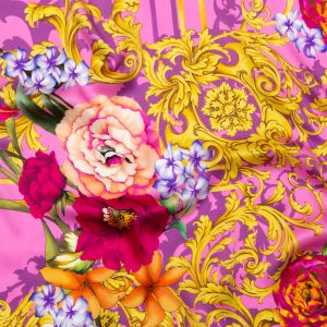 Italian Pink and Gold Ornate Floral Digitally Printed Silk Charmeuse