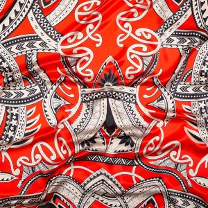 Italian Red and Black Large-Scale Digitally Printed Silk Charmeuse Panel