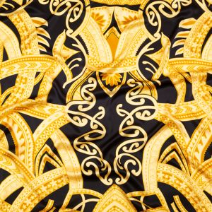 Italian Black and Golden Spice Large-Scale Digitally Printed Silk Charmeuse Panel