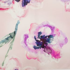 Italian Barely Pink and Red Violet Watercolor Floral Silk Organza