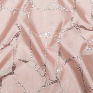 Metallic Dynasty Pink, Misty Rose and Shell Satin-Faced Abstract Luxury Brocade