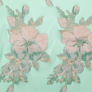 Metallic Bright Gold, Green Spruce, Adobe Rose and Lily Pad Floral Luxury Organza Brocade
