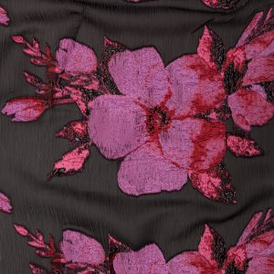 Metallic Black, Pink and Red Floral Luxury Organza Brocade