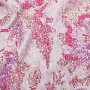 Metallic Bright Gold, Lavender Herb and Fuchsia Pink Floral Luxury Brocade