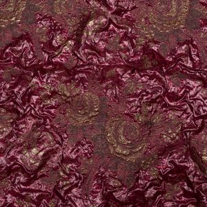 Metallic Raspberry Radiance and Bright Gold Floral Luxury Double Layer Organza Brocade