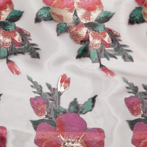 Metallic Gold, Red and Volcanic Glass Floral Luxury Organza Jacquard