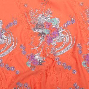 Spearmint, Coral and Metallic Gold Floral Luxury Brocade