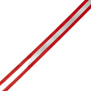 Italian Red and Silver Reflective Grosgrain Ribbon - 1.0625