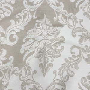 Beige and White Damask Double Wide Drapery Jacquard