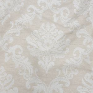 Ivory and White Damask Double Wide Drapery Jacquard