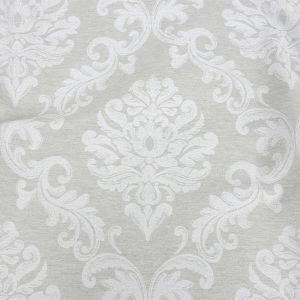 Gray and White Damask Double Wide Drapery Jacquard
