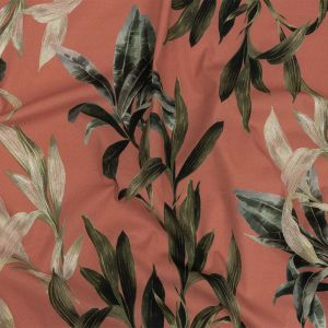 Mood Exclusive Coral To Leaf Alone Stretch Cotton Twill