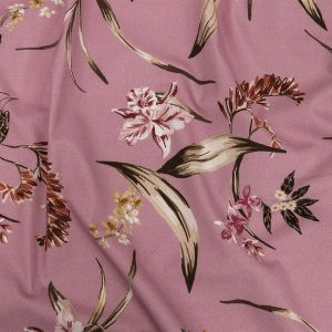 Mood Exclusive Pink Lavender Leaves of Change Stretch Cotton Twill