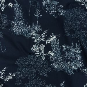 Mood Exclusive Navy Branching Out Stretch Cotton Poplin
