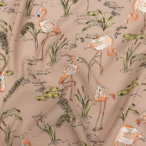 Mood Exclusive Taupe Flamingo Festivities Sustainable Viscose Woven