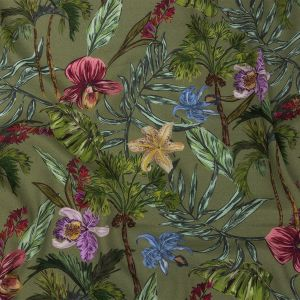 Mood Exclusive Green Organic Orchids Sustainable Viscose Woven