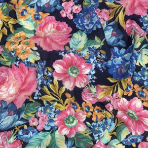 Mood Exclusive Navy Flowers by Vincent Gauzy Viscose Crepe