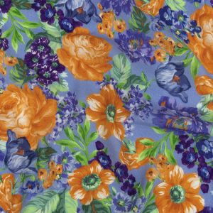 Mood Exclusive Periwinkle Flowers by Vincent Gauzy Viscose Crepe