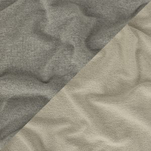 Heathered Gray and Lily White Cotton French Terry