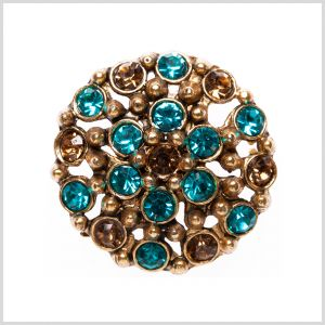 Brass/Turquoise Rhinestoned Metal Shank Back Button - 44L/28mm