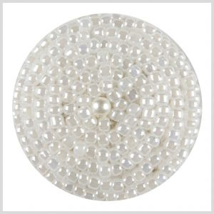 White Beaded Button - 36L/23mm