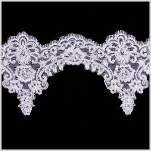 7 White/Silver Bridal Beaded Lace